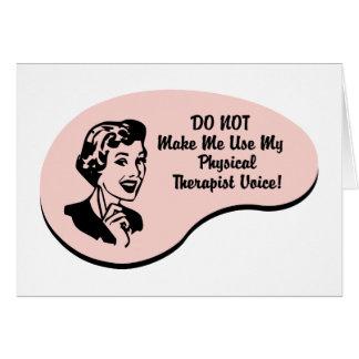 Voz del terapeuta físico tarjeta de felicitación