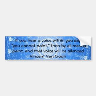 Voz interna de la CITA del ARTE de Vincent van Gog Pegatina Para Auto