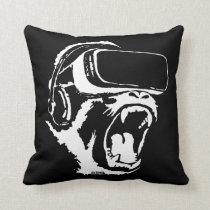 VR Gorilla Throw Pillow