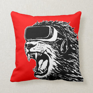 VR Lion Throw Pillow