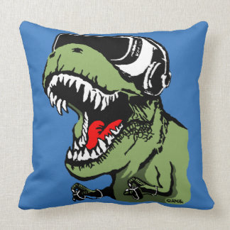 VR T-rex Throw Pillow