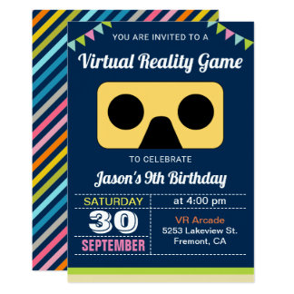 VR Virtual Reality Kids Birthday Party Invitation