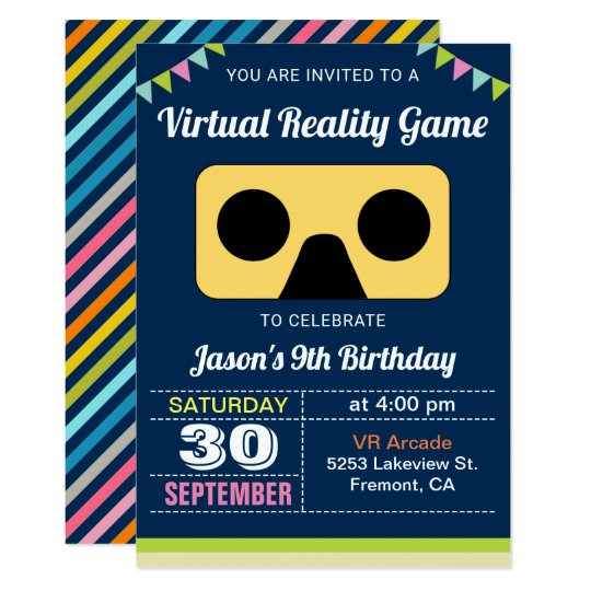 Vr Virtual Reality Kids Birthday Party Invitation Zazzle Com