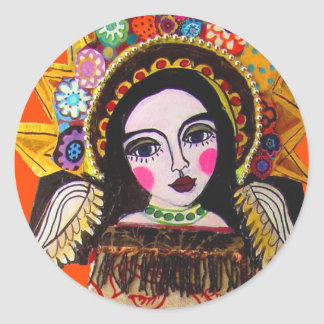 Vrgin of Guadalupe by Heather Galler Classic Round Sticker