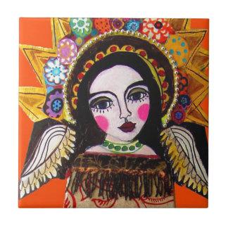 Vrgin of Guadalupe by Heather Galler Ceramic Tile