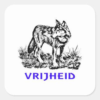 Vrijheid - wolf in wildernis square sticker