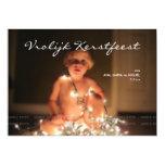 """Vrolijk Kerstfeest Kerstmis Foto Blauw Wit Strepen Invitación 5"""" X 7"""""""