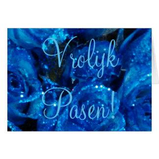 Vrolijk Pasen Dutch Happy Easter Card Purple Roses
