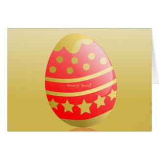 Vrolijk Pasen Dutch Happy Easter Egg Red Gold Card