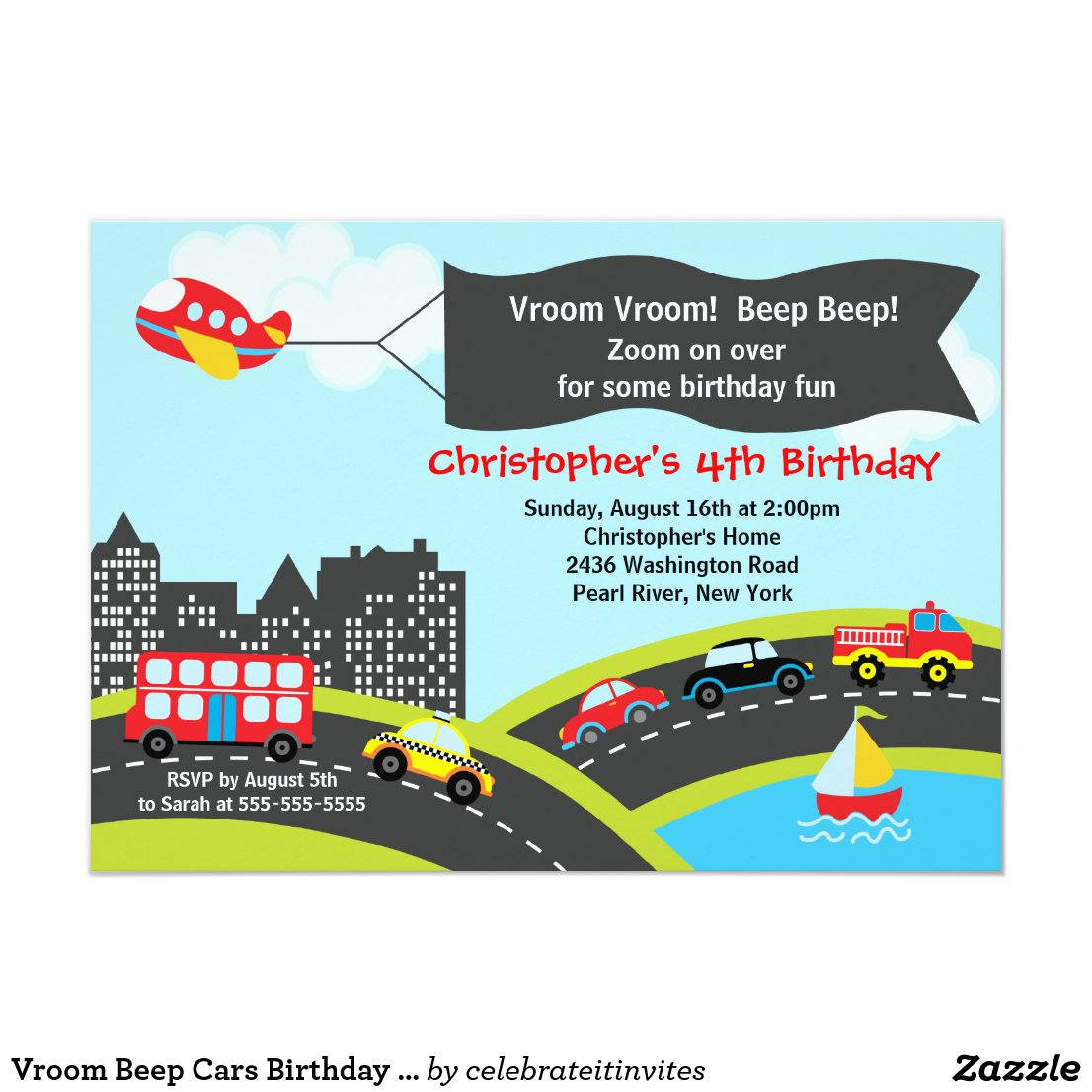 Vroom Beep Cars Birthday Party Invitation