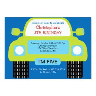 """Vroom fiesta de cumpleaños del coche para los invitación 5"""" x 7"""""""