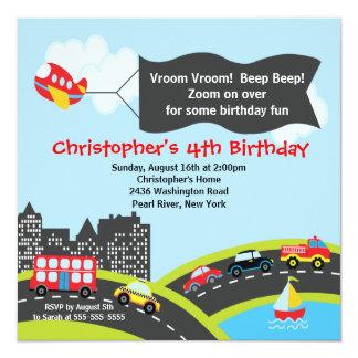 Vroom invitación de la fiesta de cumpleaños de los