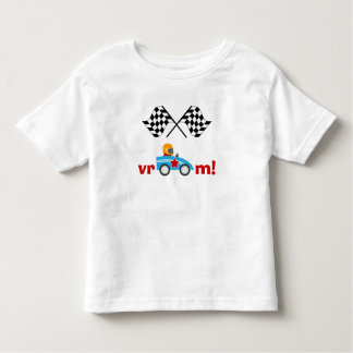Vroom Race Car and checkered flags kids t-shirt