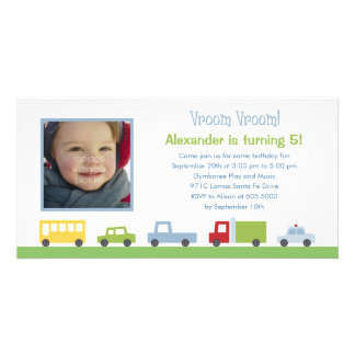 Vroom Vroom Cars Photo Birthday Party Invitation