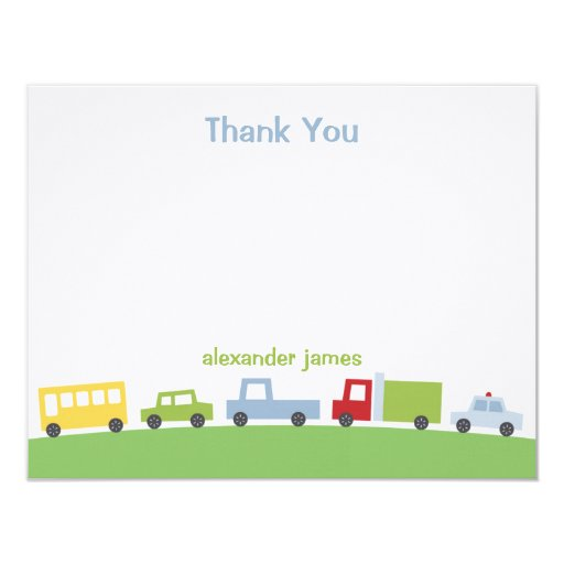 Vroom Vroom Cars Thank You Notes Card