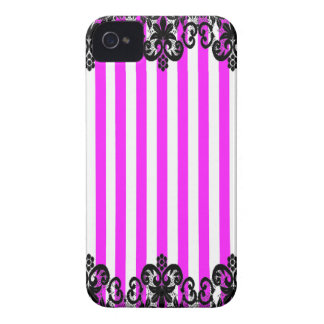 VSPinkStripeBlackLace2015 iPhone 4 Case-Mate Protectores