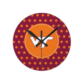 VT Virginia Tech Round Clock