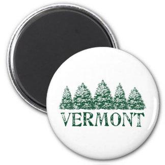VT Winter Evergreens 2 Inch Round Magnet