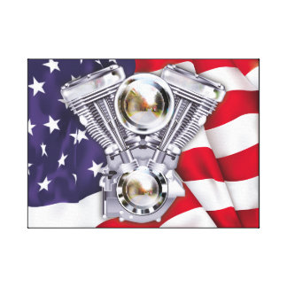 Vtwin Engine on American Flag Canvas Print