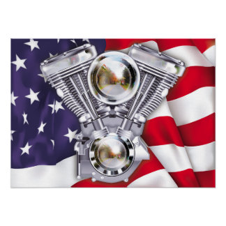 Vtwin Engine on American Flag Poster