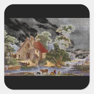 Vue des Environs de Mantes', Jean_Engravings Square Sticker