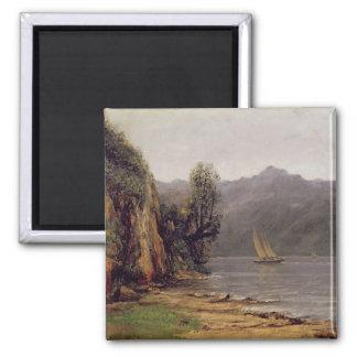 Vue du Lac Leman, c.1873-77 2 Inch Square Magnet
