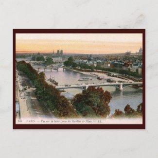 Vue sur la Seine, Paris, France Vintage postcard