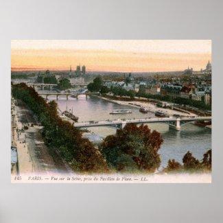 Vue sur la Seine, Paris, France Vintage print