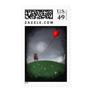 Vuele su pequeño franqueo rojo de Baloon