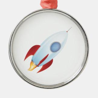 Vuéleme a la luna - diseño de Rocket Adorno Redondo Plateado