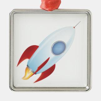 Vuéleme a la luna - diseño de Rocket Adorno Cuadrado Plateado