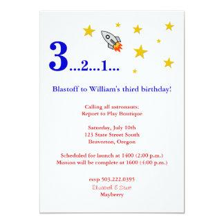 """Vuéleme a la luna para mi cumpleaños invitación 5"""" x 7"""""""