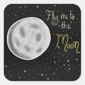 Vuéleme a los pegatinas de la luna pegatina cuadrada