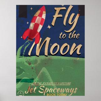 Vuéleme al poster del viaje del vintage de la luna