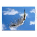 Vuelo a solas (luz como pluma) tarjeta de felicitación