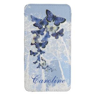 Vuelo azul de la mariposa, personalizado nombrado funda para galaxy s4