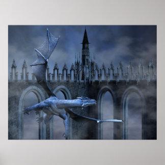 Vuelo azul del dragón póster