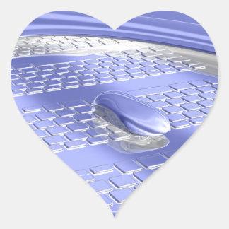 Vuelo azul pegatina en forma de corazón