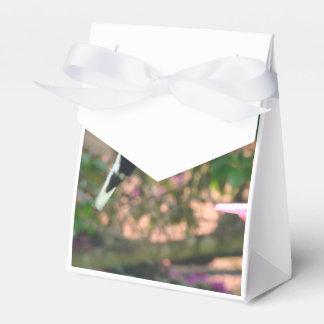 Vuelo blanco y negro del colibrí en un alimentador cajas para detalles de boda