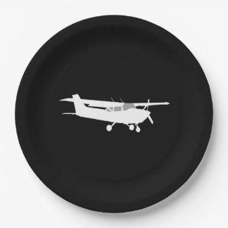 Vuelo clásico de la silueta de Cessna de los Plato De Papel De 9 Pulgadas