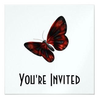 """Vuelo con alas rojo sangre y negro de la mariposa invitación 5.25"""" x 5.25"""""""