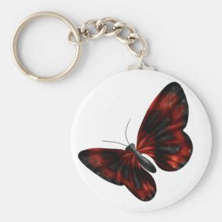 Vuelo con alas rojo sangre y negro de la mariposa llavero personalizado