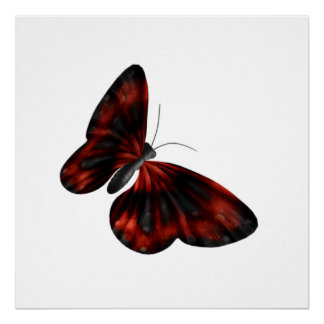 Vuelo con alas rojo sangre y negro de la mariposa póster