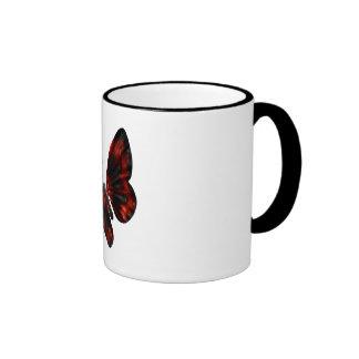 Vuelo con alas rojo sangre y negro de la mariposa taza de dos colores
