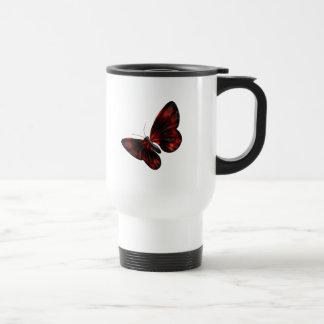 Vuelo con alas rojo sangre y negro de la mariposa taza térmica