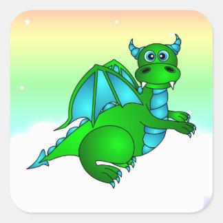 Vuelo crepuscular - cuadrado verde y azul lindo pegatina cuadrada
