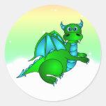 Vuelo crepuscular - dragón verde y azul lindo pegatinas redondas