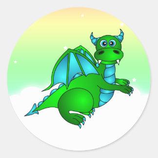 Vuelo crepuscular - dragón verde y azul lindo pegatina redonda