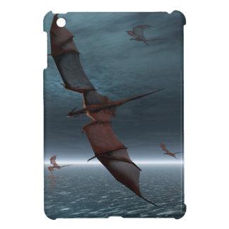 Vuelo de dragones rojos sobre el mar