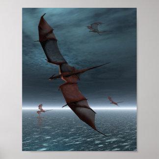 Vuelo de dragones rojos sobre el mar posters